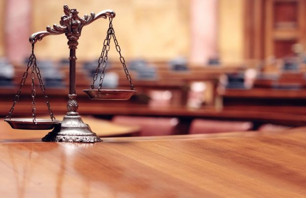 justice scales in a court room