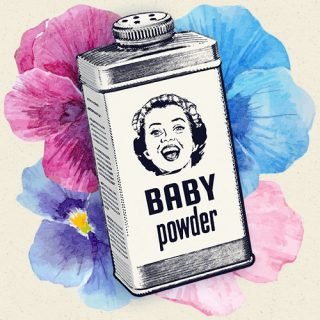Illustration of baby powder container surrounded by vintage flowers