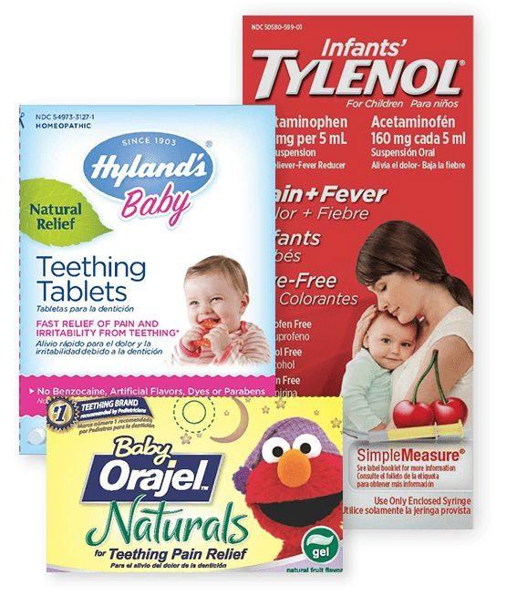 Teething medication packaging