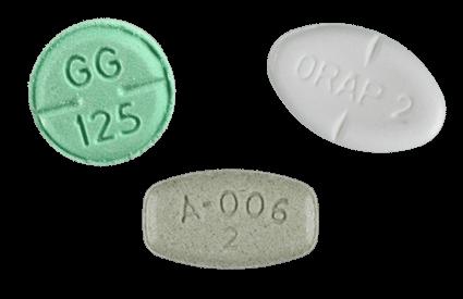 Haloperidol, Pimozide and Aripiprazole pills