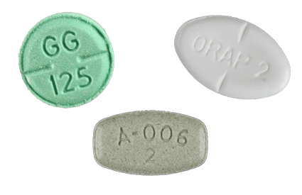 Haloperidol, Pimozide and Aripiprazole pills