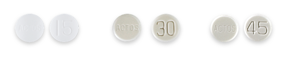 Actos tablet dosage 15 mg, 30 mg and 45 mg.