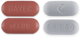 Avelox (left) Cipro (right) pills