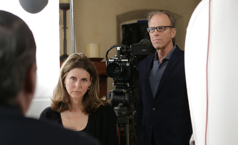 Behind the scenes photo of Amy Ziering and Kirby Dick