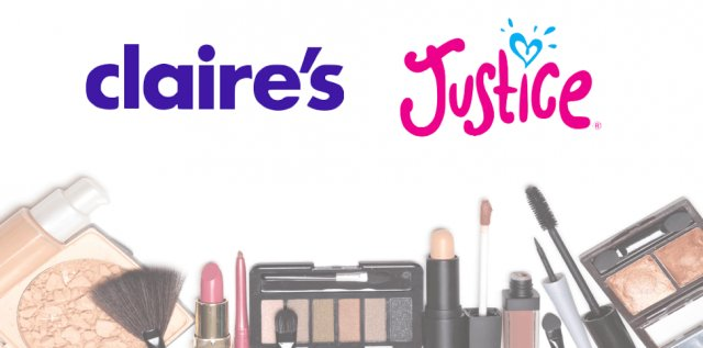 Retail stores Claire's and Justice logo with makeup products.
