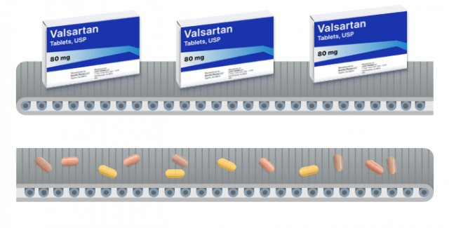 Conveyor belt with valsartan medicine