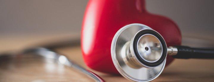 Heart next to stethoscope