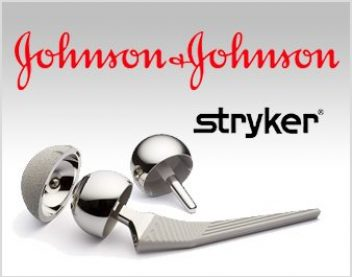 hip implant parts and Johnson & Johnson logo