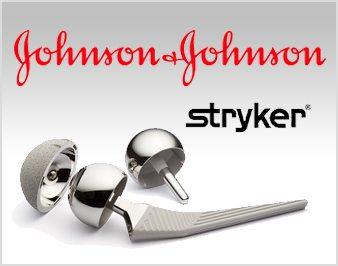 hip implant parts and Johnson & Johnson logo