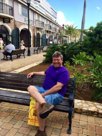Harvey Kerby sitting on bench