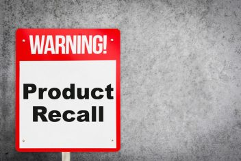 Warning sign that says Product Recall