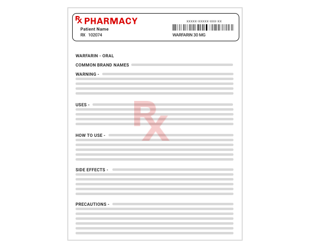 Example of a pharmacy Information Sheets