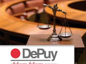 Scales in coutroom and DePuy logo