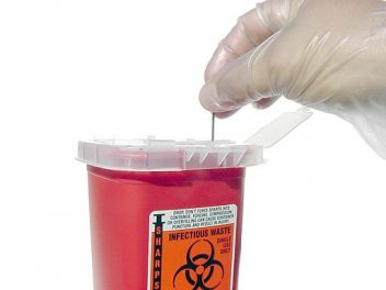 Sharps waste container