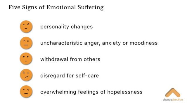 Five Signs of Emotional Suffering for veterans infographic