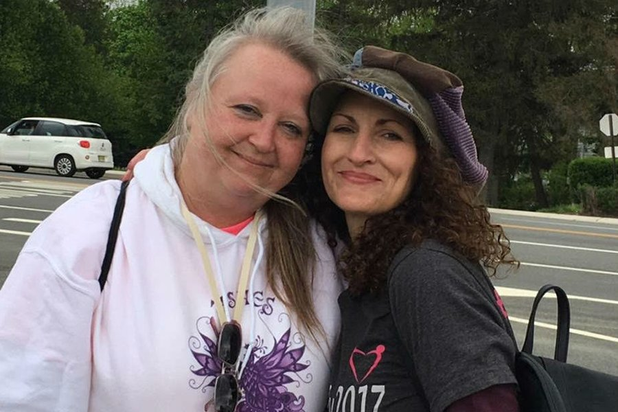Angie Firmalino and Lesley Pierce of ASHES at an Essure rally