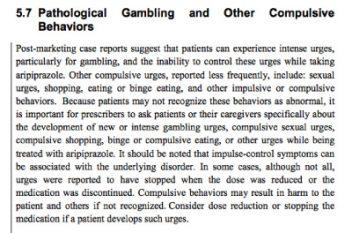 Portion of Abilify warning label concerning compulsive behavior