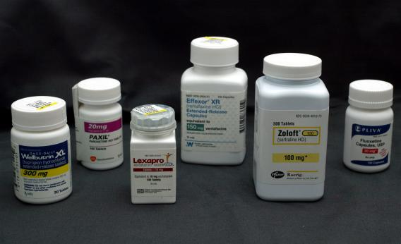 several brands of Anti Depressant pill bottles