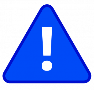 blue caution symbol