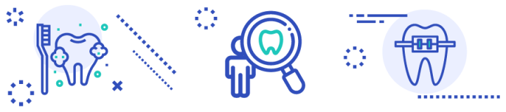 banner with child dental health icons