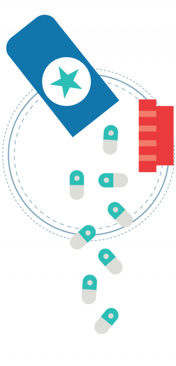 Illustration of open pill bottle