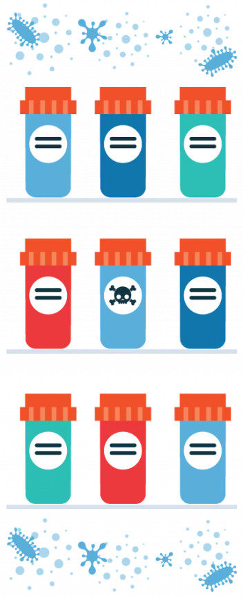 Illustration of dangerous drugs in bottles