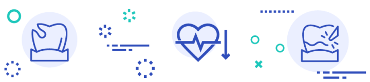 banner with heart disease and dental health icons