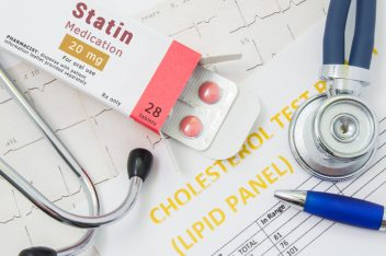 Statin pills in medication box