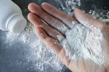 Talcum powder contaminated with asbestos in hand