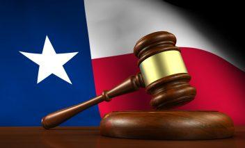 Texas flag with gavel