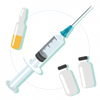 illustrations of injectables and vials