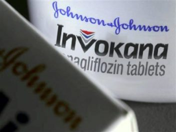 Closeup of Invokana Diabetes Medication bottle