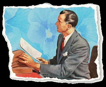 Vintage lawyer illustration