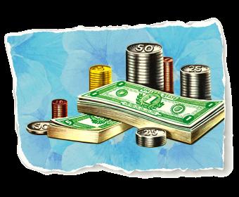 Vintage pile of money illustration