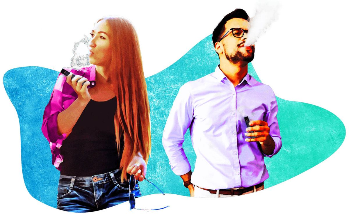 Two young people vaping