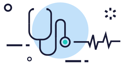 Stethoscope and heartbeat line