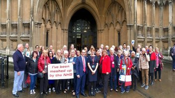 Kath Sansom with fellow Sling The Mesh members outside House of Commons in London on October 18, photo credit Harry Rutter