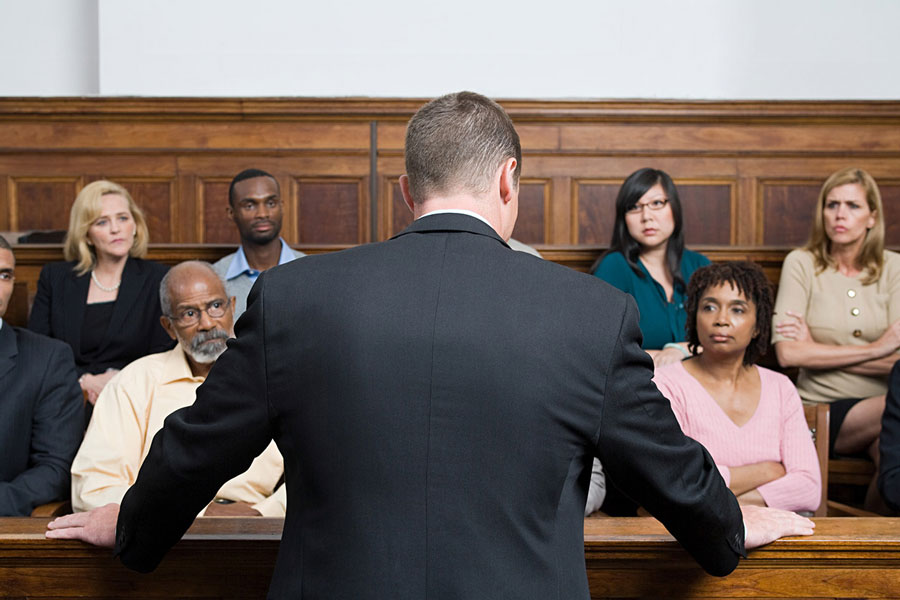 lawyer speaking to a jury