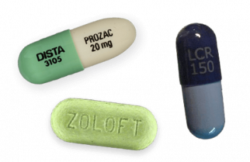 Prozac, Zoloft and Luvox pills