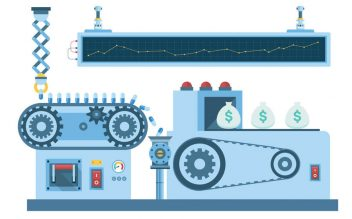 illustration of a production line producing pills and pumping in money bags