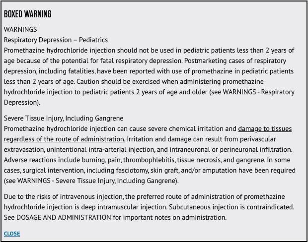 Promethazine Black-box Warning Label