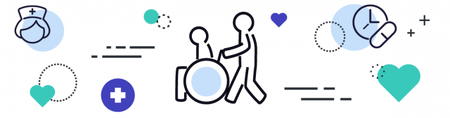 Icon of caregiver and patient in wheelchair