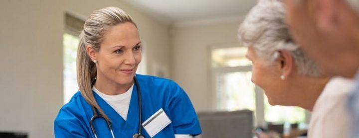 senior citizens and a caregiver nurse