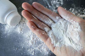 Talcum Powder on hand