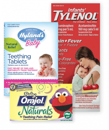 Teething medication packaging