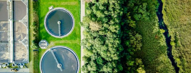 Sewage treatment plant near forest