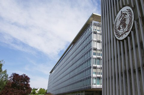 Picture of the World Health Organization headquarters in Geneva, Switzerland